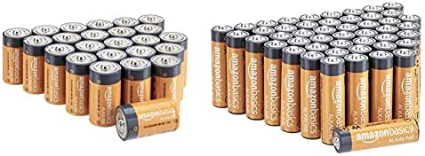 Amazon Basics 12 Pack D Cell All-Purpose Alkaline Batteries, 5-Year Shelf Life, Easy to Open Value Pack