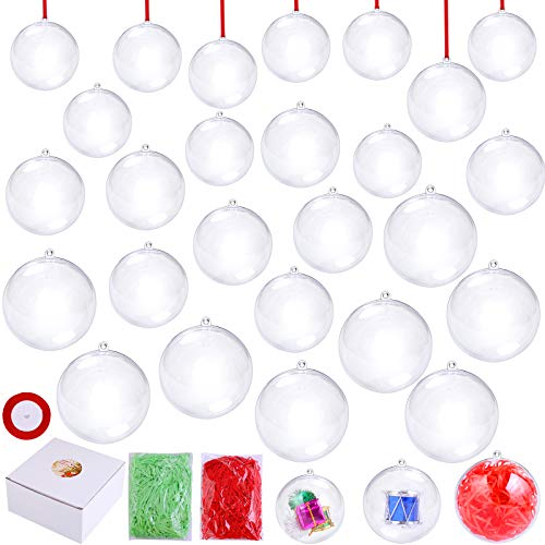 Aneco 33 Pieces Clear Fillable Balls Set Plastic Baubles Ornament DIY Christmas Tree Decorations with 3 Size 50 mm 60 mm 70 mm, 2 Colors Lafite Grass, Red Ribbon for Christmas, Party Decoration