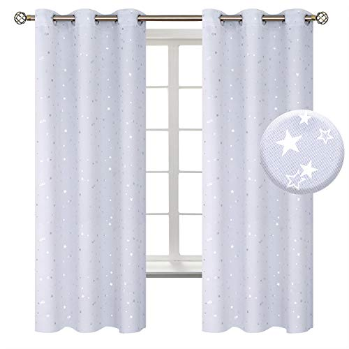 BGment Kids Blackout Curtains for Bedroom - Grommet Thermal Insulated Silver Star Print Room Darkening Curtains for Living Room, Set of 2 Panels (42 x 63 Inch, Greyish White)