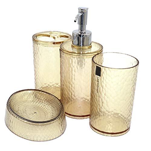 London Boutique Juego de accesorios de baño de 4 piezas, dispensador de jabón transparente, soporte para cepillo de dientes, vaso de jabón (marrón transparente)