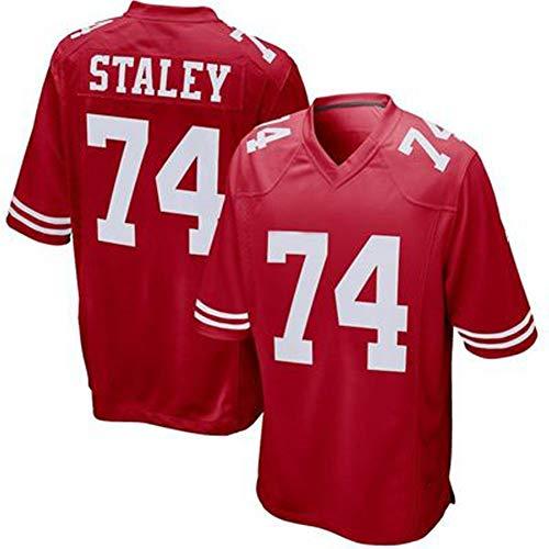 Rugby Jersey 49ers 74# Staley Maglietta Uomo Rosso Mezza Maniche Maglia Sportiva Professionale Abbigliamento Tecnico Fibra Di Poliestere Traspirante L'Attrezzatura Per Tifosi Colore XL