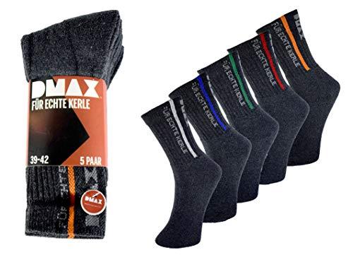 DMAX Allrounder Socken für echte Kerle - 5 10 15 20 Paar - wahlweise in Schwarz, Anthrazit, Blau und drei Größen 39-42/43-46/47-50 (39-42, 10 Paar Anthrazit)