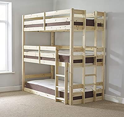 3 Tier Triple Bunkbed with MEMORY FOAM mattresses - Triple sleeper Childrens Bunk Bed - VERY STRONG BUNK - heavy duty use