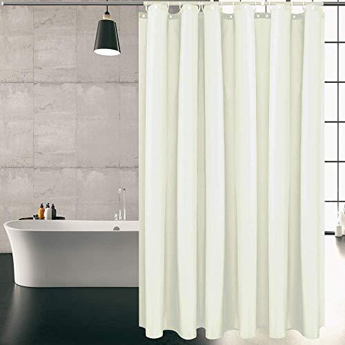 KIPIDA Duschvorhang Textil, Anti-Schimmel, Wasserdichter, Waschbar Anti-Bakteriell Stoff Polyester Badewanne Vorhang mit 8 Duschvorhängeringen, 120x180cm, Beige