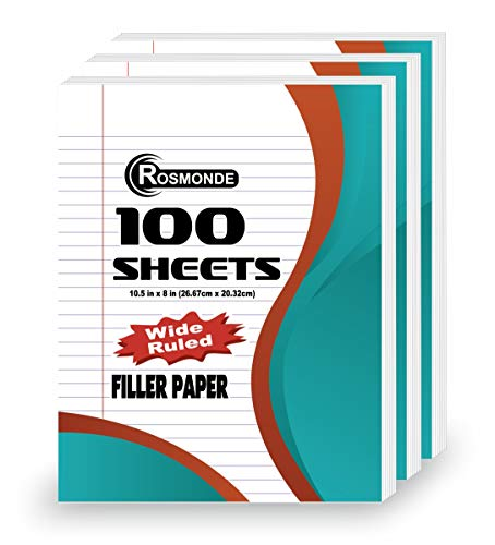 Rosmonde Loose Leaf Paper, Wide Ruled, 100 Sheets, 10-1/2' x 8', Lined Filler Paper, 3 Hole Punched for 3 Ring Binder, Writing & Office Paper, Perfect for College, K-12 or Homeschool, 3 Pack