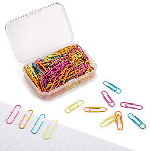 Paper Clips 28mm Assorted Color Paperclips for Office Premium Clips for Paperwork Paper Clips Small Durable Rustproof Paper Holder Letter Holder Great for Office School Document Organizing[200 PCS]