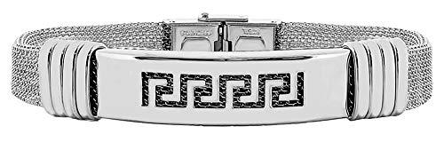 ENTREPLATA Herren-Armband aus Edelstahl, 21 cm, Herren, Jungen, Geschenk zum Vatertag, Jahrestag, Geburtstag, Plakette, griechischer Stahl