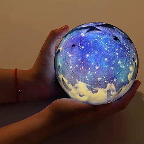 YSJJNDH Luz Nocturna Galaxy Proyector Luz Luz Starry Sky Planet Magic Home Planetarium Universe LED Colorful Gotate Flashing Star Kids Lámpara Regalo (Color : Rotate, Emitting Color : Constellation)
