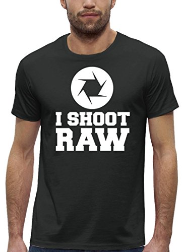 Fotografen Premium Herren T-Shirt aus Bio Baumwolle mit I Shoot RAW Marke Stanley Stella, Größe: M,Anthrazite