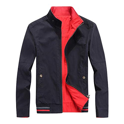 Mens Full Jacket Padded Double Layer Button Winter Coat Washed Cotton Jacket Double Side-Dark Blue_XXXL