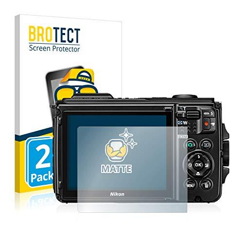 BROTECT Protector Pantalla Anti-Reflejos Compatible con Nikon Coolpix W300 (2 Unidades) Pelicula Mate Anti-Huellas