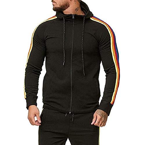 Jiaermei Reißverschluss-Strickjacke,Mode Regenbogenstreifen Basic Zip Hoody,Kapuzensweatshirt In Vielen Farben