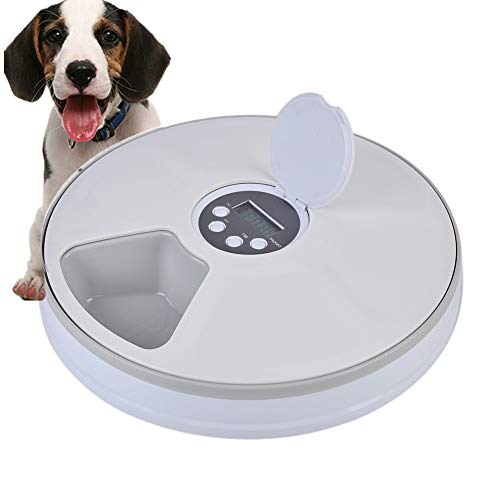 Abenily Automatic Pet Feeder 6 Meal Trays Dry Wet Food...