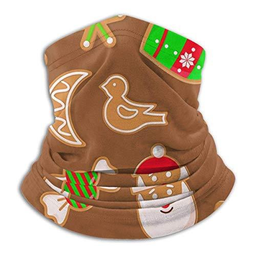 IZOU Gingerbread Man and Santa Claus Reindeer Candy Neck Gaiter Face Mask,Multifunction for Man Women seasons Magic Scarf Bandana Balaclava
