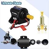 Bomba de combustible eléctrica en línea universal de 12 V para gasolina, diésel, bomba externa (4-7 psi), 380 bobinas de cobre circulares, corriente de 1,0-2,0 A