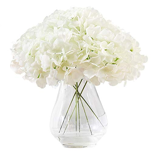 Kislohum Hydrangea Silk Flower White 10 Heads Artificial Hydrangea Silk Flowers Head for Wedding Centerpieces Bouquets DIY Floral Decor Home Decoration with Long Stems - White