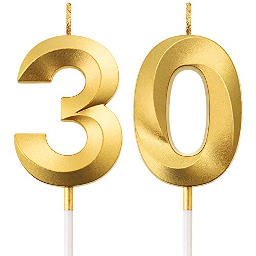 30th Birthday Candles Cake Numeral Candles Happy Birthday Cake Topper Decoration for Birthday Party Wedding Anniversary Celebration Supplies (Gold)