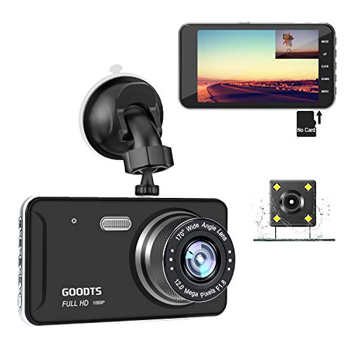GOODTS Dual Dash Cam Front and Rear 4' IPS Screen FHD 1080P 6G Lens Car Dashboard Camera Recorder with Reversing Assist Night Vision G-Sensor Parking Monitor Motion Detection Loop Recording(No Card)