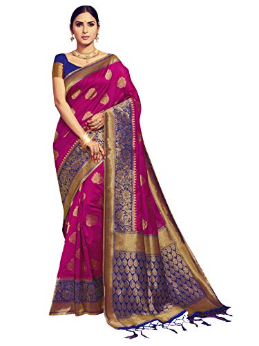 Elina fashion Sarees for Women Banarasi Art Silk Woven Saree l Indian Ethnic Wedding Gift Sari with Unstitched Blouse, Megenta, One Size