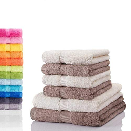 etérea Carli 6 TLG Handtuch Sparset 4X Handtücher, 2X Duschtücher - 100% Baumwolle und Oeko Tex Standard 100 - Qualitäts Frottierware 500 g/m² - Farbe: Nature - Taupe