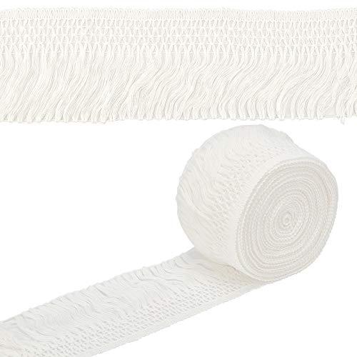 PandaHall Ribete anudado de algodón con flecos, 4.3 pulgadas de ancho 20 yardas de flecos de algodón para coser decoración de bricolaje, cortinas de vestir, flecos, flecos