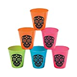 Day Of The Dead Shot Glasses (bulk set of 24) Halloween Party Supplies