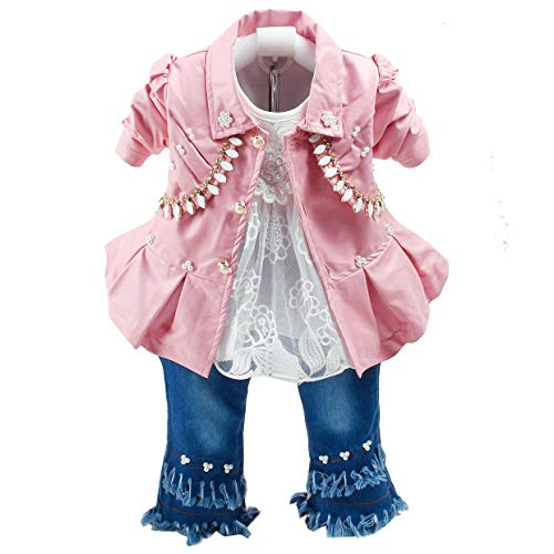 Primavera otoño Conjunto de Ropa para niñas bebés 3 Piezas Camiseta de Manga Larga Chaqueta de Cuero y Jeans (1-2a, Rosa)