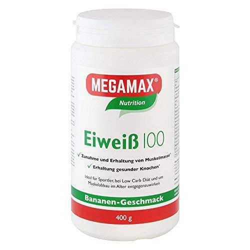Megamax Eiweiss Banane 400 g Molkenprotein + Milcheiweiß Eiweiß Protein mit Biologischer Wertigkeit ca. 100Für Muskelaufbau und Diaet 400 g   ohne Süßstoff   PROTEINPULVER ideal zum Backen   Low Carb Eiweiß-Shake für Muskelaufbau und Fitness