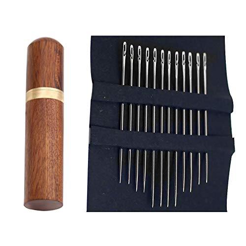 GCDN 12 aghi da cucito autofilettanti con custodia in legno per aghi da cucito, aghi da cucito, strumenti per lavori a maglia, aghi per cucire in pelle, accessori da cucito