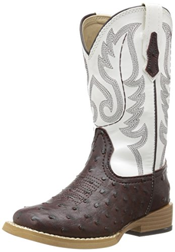 Roper Square Toe Faux Ostrich Western Boot (Toddler/Little Kid),Brown/White,1 M US Little Kid