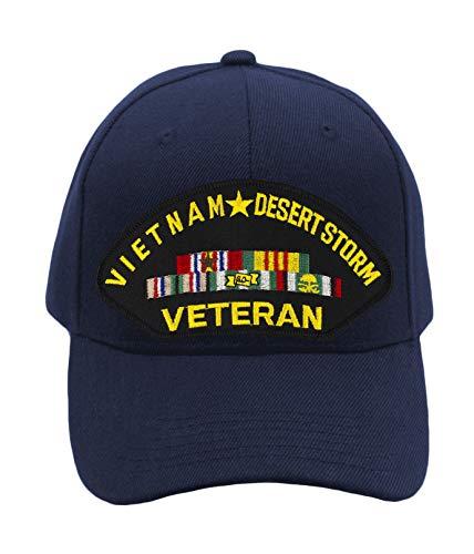 PATCHTOWN Vietnam & Desert Storm Veteran Hat/Ballcap Adjustable One Size Fits Most (Navy Blue, Standard (No Flag))