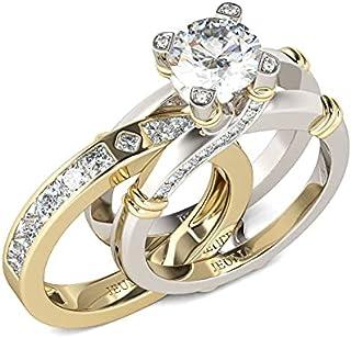 طقم خواتم فضة استرلينية بلونين قابلة للتبديل، خاتم خطوبة وزفاف، خواتم للنساء