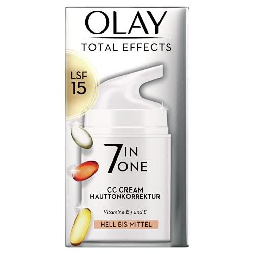 Olay Total Effects 7-in-1 CC Feuchtigkeitscreme Mit LSF 15 Für Frauen, Helle Bis Mittlere Hauttypen 50ml, Tagescreme mit Vitamin E, B3 und B5, Gesichtscreme Damen (Verpackung kann variieren)