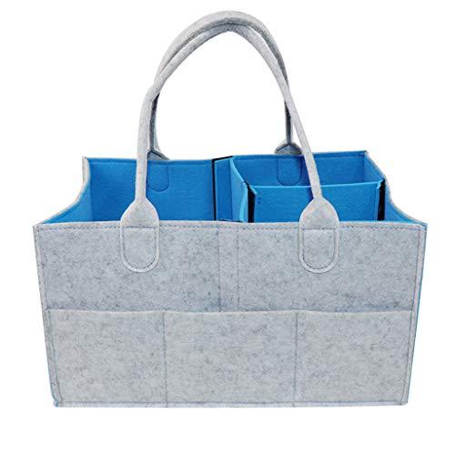 Filztaschen für Kaminholz Einkaufstasche Filzkorb Holzkorb Faltbare Aufbewahrungstasche TragbareKaminholztasche Einkaufskorb Zeitungskorb Shopper aus Filz faltbar (Blau)