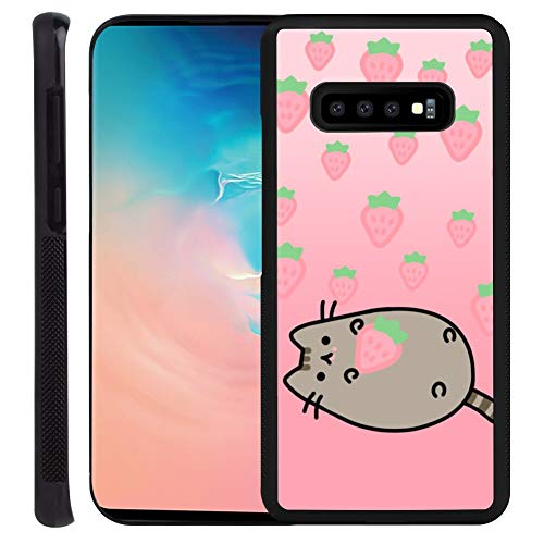 Galaxy S10+ 6.4Inch Case Strawberry_Pusheen Pattern Protective Slim Fit Cover,Soft TPU Edge Shockproof Protection