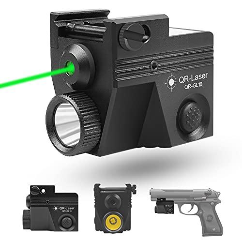 QR-Laser Green Laser Sight Gun Pistol Light Tactical Flashlight Combo USB Rechargeable Picatinny Rail Strobe Function 500 Lumens for Pistols Handguns Upgraded GL10
