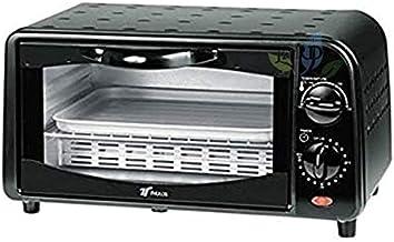 Four électrique posable, 800 W, 9 litres, acier inoxydable, noir, température réglable 100ºc-230ºc Porte de double en verr...