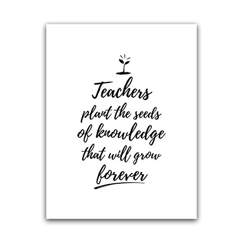 Teachers Plant The Seeds Quote Teacher Poster Wall Art, Appreciation Gift, High Middle Elementary School Print Sign, Funny Classroom Quote, Best Principal Large Artwork, Big Nordic Home Deco 8.5x11