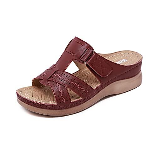 Sandalias De Cuña De Verano para Mujer, Zapatos De Plataforma De Playa, Zapatos Retro De Talla Grande, Zapatillas Antideslizantes, Sandalias con Punta Abierta, Sandalias De Cuero para Mujer,Claret-36