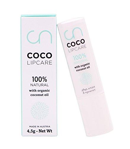Coco Lipcare Lippenpflegestift - Bio Kokosöl - Vegan - Tierversuchsfrei - Für zarte, glänzende, gesunde Lippen - Naturkosmetik