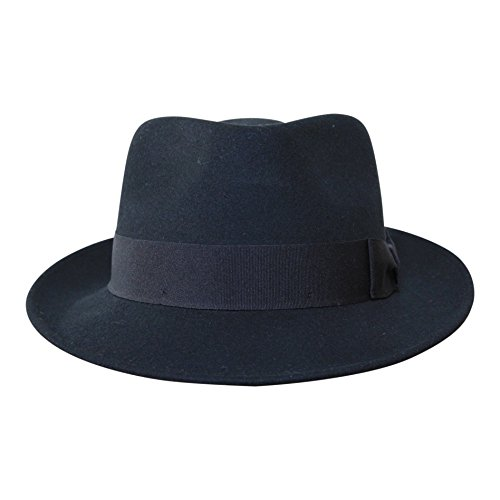 Borges & Scott B&S Premium Doyle - Teardrop Fedora Hut - 100% Wollfilz - perfekt zum Reisen - was-serabweisend - Unisex - 58cm Schwarz