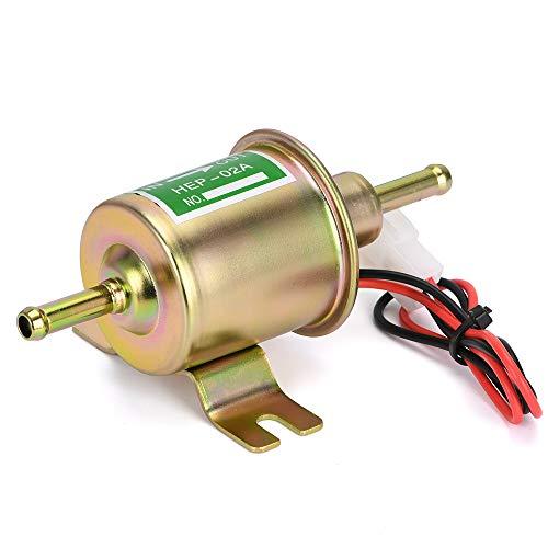 PQY Inline Electric Fuel Pump 12v Universal Low Pressure Diesel Gasoline External Transfer Pump 4-7 PSI for Carburetor Lawn-Mower Gold