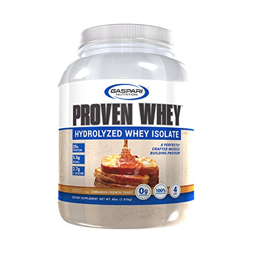 Gaspari Nutrition Proven Whey, Low Carb, 100% Hydrolyzed Whey Isolate, Cinnamon French Toast, 4 Pound