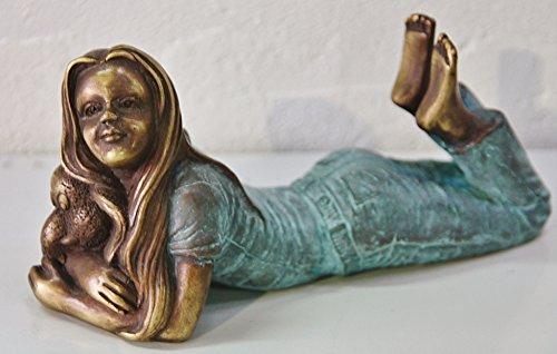 Mädchen mit Elefant, Skulptur aus Bronze