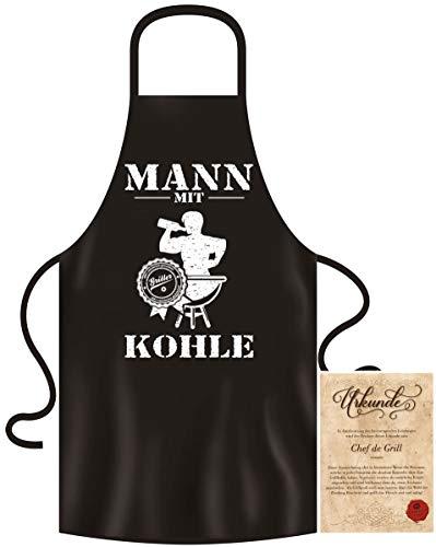 Soreso Grillschürze für Männer lustig im Grill-Set BBQ Apron Geschenkidee Mann mit Kohle