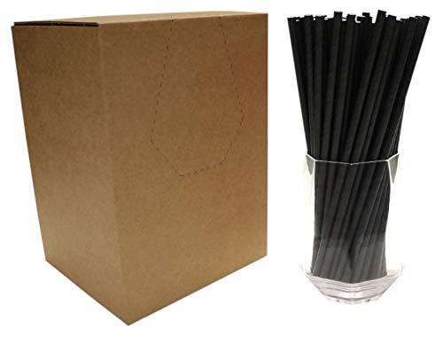 Schwarz Papierstrohhalme (6mm x 200mm) - 500 Stück - Premium Trinkhalme, Biologisch Abbaubar, Umweltfreundlich, Langlebig, Lebensmittelecht, Für Alle Anlässe Geeignet