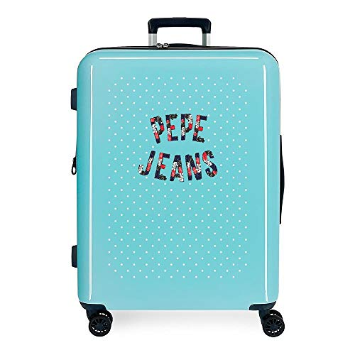 Pepe Jeans Emory Maleta Mediana Azul 48x70x26 cms Rígida ABS Cierre TSA 81L 4,2Kgs 4 Ruedas Dobles Extensible