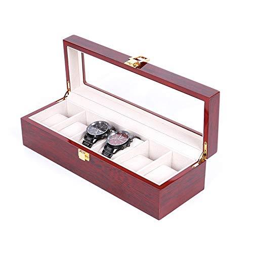 Soporte de reloj duradero para 6 relojes, organizador con compartimentos para ventana transparente, con tapa, almohadillas extraíbles para hombres o mujeres