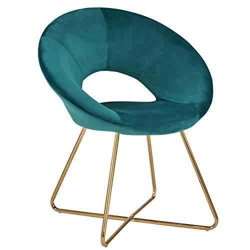 Duhome Silla de Comedor diseño Retro con Brazos Silla tapizada Vintage sillón con Patas de Metallo 439D, Color:Verde Azulado, Material:Terciopelo
