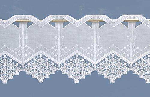 Zauberhafte Scheibengardine 20 x 50 cm im Landhausstil mit Spitze Farbe:weiß - ideal für kleine Fenster